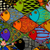 "Deco Fishes Giclee 14"" X  11"
